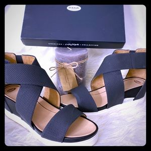 Contemporary Black Sandals w/Microfiber Straps
